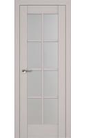 Межкомнатная дверь 101X Пекан Белый, Стекло Матовое