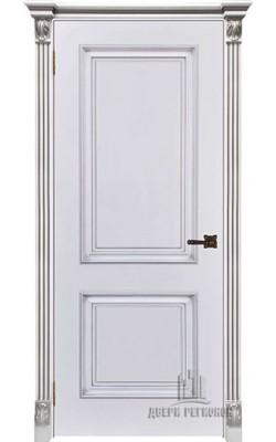 Межкомнатные двери Итало Багет 32  Эмаль белая с патиной серебро