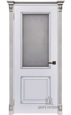 Межкомнатные двери Итало Багет 32, Стекло Эмаль белая с патиной серебро
