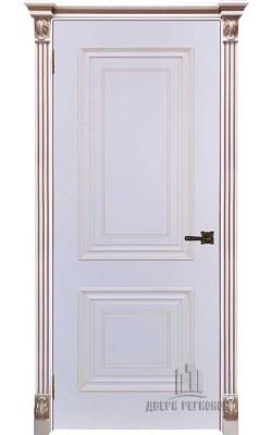 Межкомнатные двери Итало Багет 30  Эмаль белая с патиной капучино