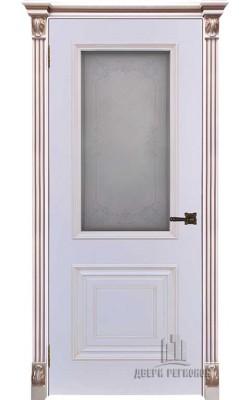 Межкомнатные двери Итало Багет 30, Стекло Эмаль белая с патиной капучино
