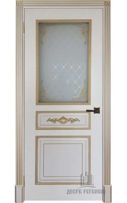 Межкомнатные двери Лацио, Стекло Слоновая кость с патиной золото