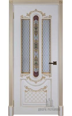 Межкомнатные двери Александрия 2, Стекло Слоновая кость с патиной золото