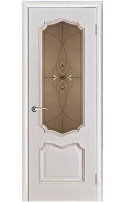 Межкомнатные двери Премьера Белая патина, Стекло бронза с фацетами