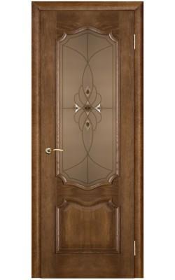 Межкомнатные двери Премьера Каштан тон 11, Стекло бронза с фацетами