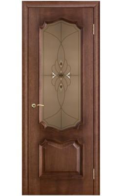 Межкомнатные двери Премьера Дуб патина голд, Стекло бронза с фацетами