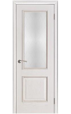Межкомнатные двери Шервуд Белая патина, Стекло Классик