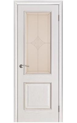 Межкомнатные двери Шервуд Белая патина, Стекло Ромб