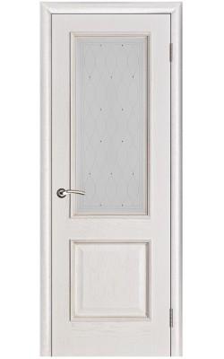 Межкомнатные двери Шервуд Белая патина, Стекло Роса