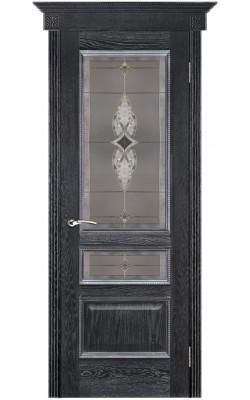 Межкомнатные двери Вена Черная патина, Стекло Витраж