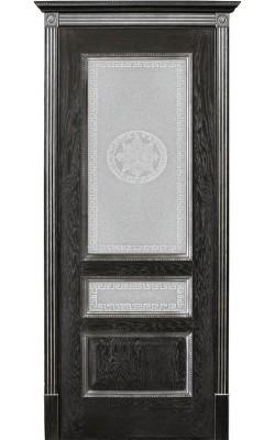Межкомнатные двери Вена Черная патина, Стекло Версачи