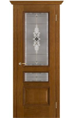 Межкомнатные двери Вена Античный дуб, Стекло Витраж