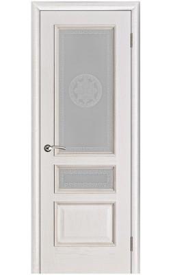 Межкомнатные двери Вена Белая патина, Стекло Версачи