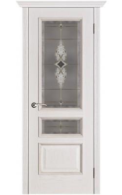 Межкомнатные двери Вена Белая патина, Стекло Витраж