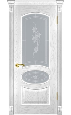 Межкомнатные двери Грация  Дуб эмаль белая, стекло