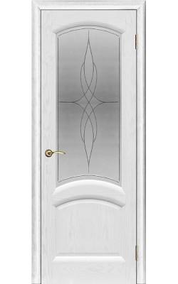 Межкомнатные двери Лаура Ясень жемчуг, стекло