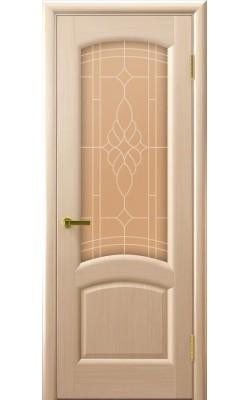 Межкомнатные двери Лаура Беленый дуб, стекло