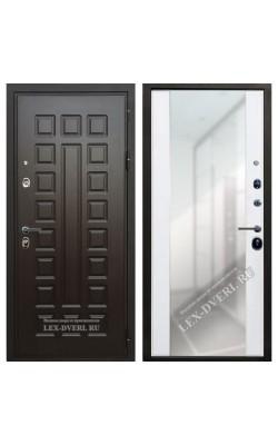 Входные двери  Лекс Гладиатор (Зеркало) Ясень белый