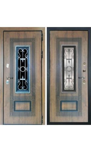 Входная уличная дверь с терморазрывом Лекс Термо Русь с окном и ковкой (Голден патина)