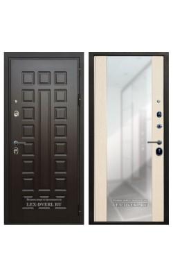 Входные двери  Лекс Гладиатор (Зеркало) Белёный дуб